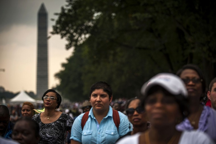 Crowds gather on the National Mall to commemorate the 50th Anniversary of the March on Washington August 28, 2013. (James Lawler Duggan/Reuters)