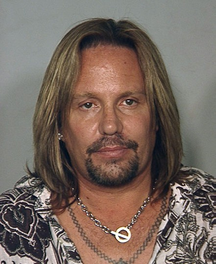 Motley Crue singer Vince Neil is seen in this police booking mug shot from the Las Vegas Police Department, released to Reuters June 28, 2010. Neil has been arrested on suspicion of drunk driving and was being held in a Las Vegas jail, police said on Monday. REUTERS/Las Vegas Police Department/Handout