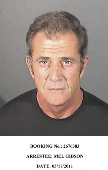 Actor Mel Gibson is pictured in this March 17, 2011 booking photo from the El Segundo police department. Gibson pled no contest to simple battery March 11 and was sentenced to 16 hours of community service and 52 weeks of counseling with 36 months of informal probation. REUTERS/El Segundo Police Department/Handout