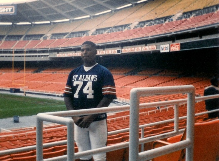 A young Jonathan Ogden poses for a photo in his St. Albans School football uniform. (Handout photo)