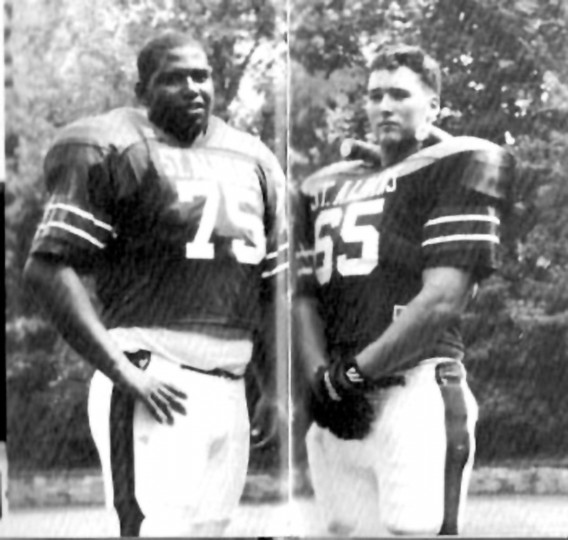 Jonathan Ogden, left, poses for a photo with teammate Jeremy Akers at St. Albans School in Washington, D.C., in 1991. (Handout photo)