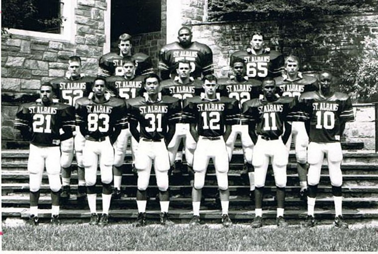 Jonathan Ogden's 1991 St. Albans School varsity football team. Ogden is in the top row, center. (Handout photo)
