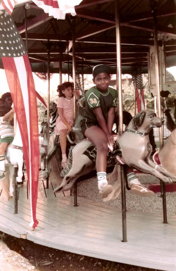 Jonathan Ogden, 7, rides a merry-go-round in Wildwood, N.J. (Handout photo)