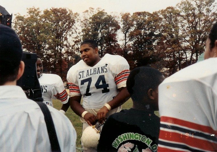 Jo nathan Ogden mingles with fans prior to a St. Albans School football game. (Handout photo)