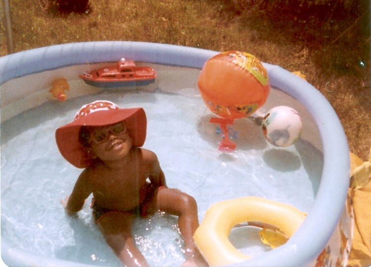 A young Jonathan Ogden swims in a wading pool. (Handout photo)