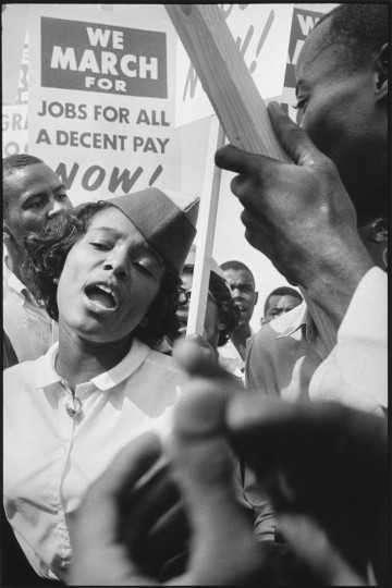 "This photograph was taken by Leonard Freed on August 28, 1963, in Washington D.C., as he documented the March on Washington for Jobs and Freedom. The event that culminated with Martin Luther King Jr.'s ""I Have a Dream"" speech. (Image distributed by Getty Publications)"