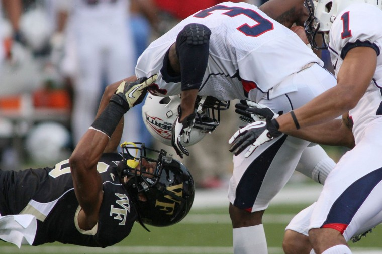 Name: Kevin Johnson College: Wake Forest Position: Cornerback Year: Junior High school: River Hill Hometown: Clarksville 2012 stats: 58 tackles, 3.5 tackles for loss, two forced fumbles, 0.5 sacks, one fumble recovery, one QB hurry. All-ACC honorable mention. Johnson had an impressive debut as a true freshman in 2010, contributing 31 tackles in 11 games (five starts). He was poised for a big follow-up campaign until he was ruled academically ineligible in 2011. But Johnson got his books in order that season, redshirted, played on the scout team and positioned himself for a big 2012. In starting all 12 games for the Demon Deacons last year, Johnson led the ACC in passes defended with 18 – the second-best single-season total in Wake Forest history. He'll need to have another big year for Wake to record its first winning season since 2008. Photo credit: USA Today Sports