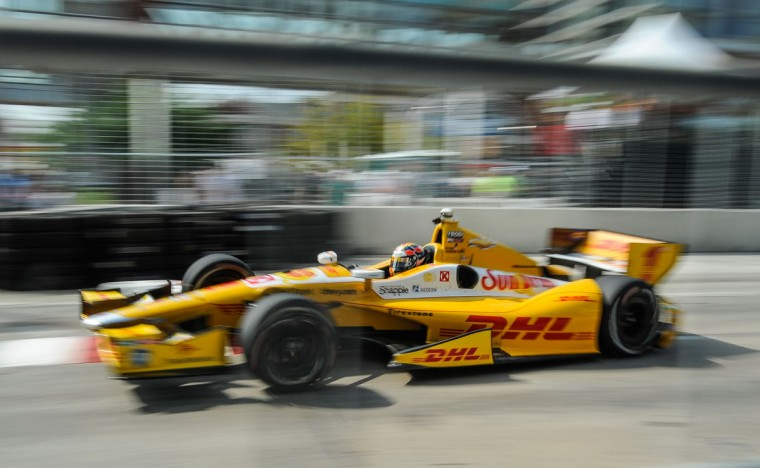 Reigning Grand Prix of Baltimore champion Ryan Hunter-Reay speeds down the first straightaway during practice on Friday. (Michael Madrid/USA Today Sports)