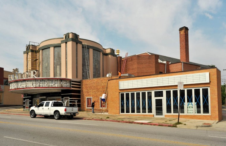 The north wing of the Senator Theatre fronting York Road has been bumped out to accommodate a new wine bar which will have sidewalk seating. (Amy Davis /Baltimore Sun)