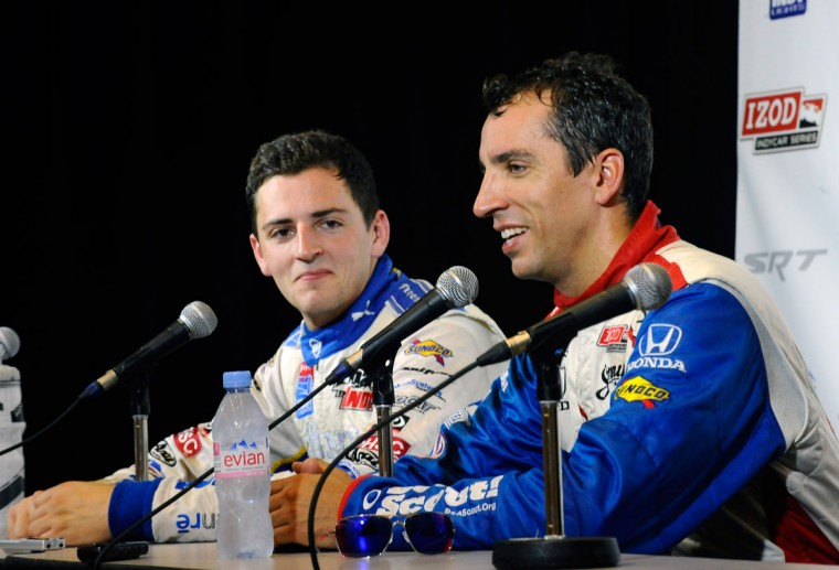 IZOD Indycar drivers Stefan Wilson, left, and his brother, Justin Wilson, speak at a press conference Friday. The Grand Prix of Baltimore marks the first time that brothers on the same team will be racing against each other. (Kenneth K. Lam/Baltimore Sun Photo)