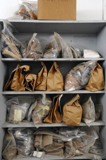 Bags containing historical artifacts unearthed from archaeological dig sites in Historic St. Mary's City are stored and waiting to be cleaned and conserved. (Kenneth K. Lam/Baltimore Sun)