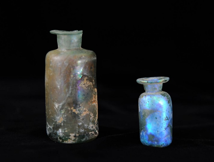 Glass medicine bottles (c. 1700-1730) in the collection of the Historical St. Mary's City's museum. (Kenneth K. Lam/Baltimore Sun)