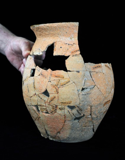 A North Devon gravel tempered butter pot (c. 1675-1700) in the collection of the Historical St. Mary's City's museum. It was unearthed in the 1970s. (Kenneth K. Lam/Baltimore Sun)