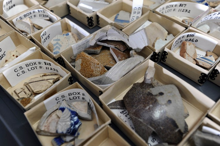 Sorted and documented ceramic artifacts at the Historical St. Mary's City's museum. (Kenneth K. Lam/Baltimore Sun)