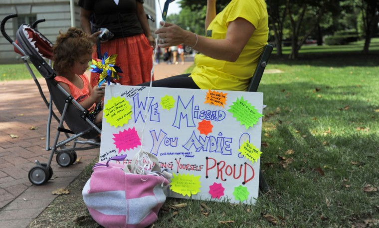 Family and friends wait for the plebes to be released for the summer. (Erin Kirkland/Baltimore Sun)