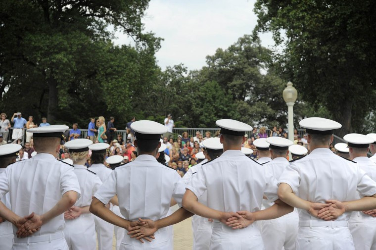 Midshipmen line up for noon formation before being released for the summer. (Erin Kirkland/Baltimore Sun)