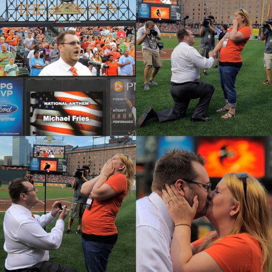 Images show the sequence of events as Michael Fries proposes to Shelby Trautman after singing the national anthem on Saturday at Camden Yards. (Karl Merton Ferron/Baltimore Sun Photos)