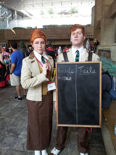 Adam Forejt and Ashley McElfresh from Towson cosplay as the Lutece twins from the game Bioshock Infinite. (Credit: Carrie Wood)