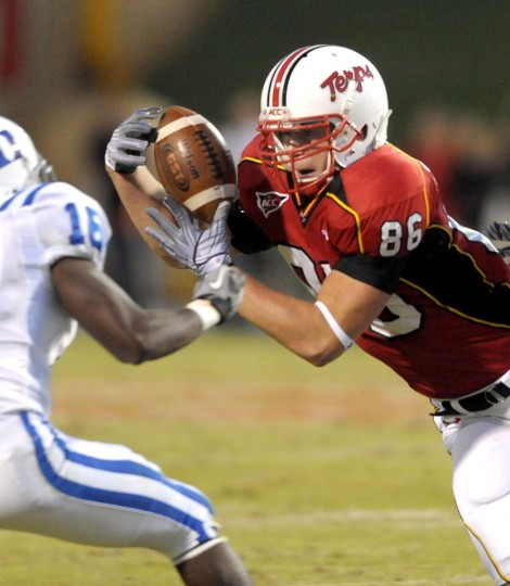 "Name: Dave Stinebaugh College: Maryland Position: Tight end Year: Senior High school: Perry Hall Hometown: Baltimore 2012 stats: Three solo tackles on special teams, one blocked punt Stinebaugh hasn't done much offensively to date, but he's by far the most experienced tight end on a Maryland team looking for playmakers beyond preseason All-ACC selection Stefon Diggs. Injuries have limited Stinebaugh's effectiveness in the past, but Terps coaches are hopeful that he stays healthy and lives up to his potential during his last season in College Park. ""Knock on wood -- I told him he's not allowed to get hurt,"" Terps tight ends coach John Dunn told The Sun. ""He hasn't caught in a ball in a game since 2010. He's hungry, he's got a lot to prove and he's ready to do it."" Photo credit: Gene Sweeney Jr. / Baltimore Sun"