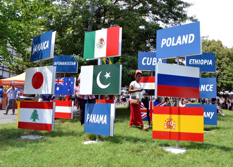 The 33 Flags installation at Artscape celebrated the countries represented by the festival's participants. (Steve Earley/Baltimore Sun)