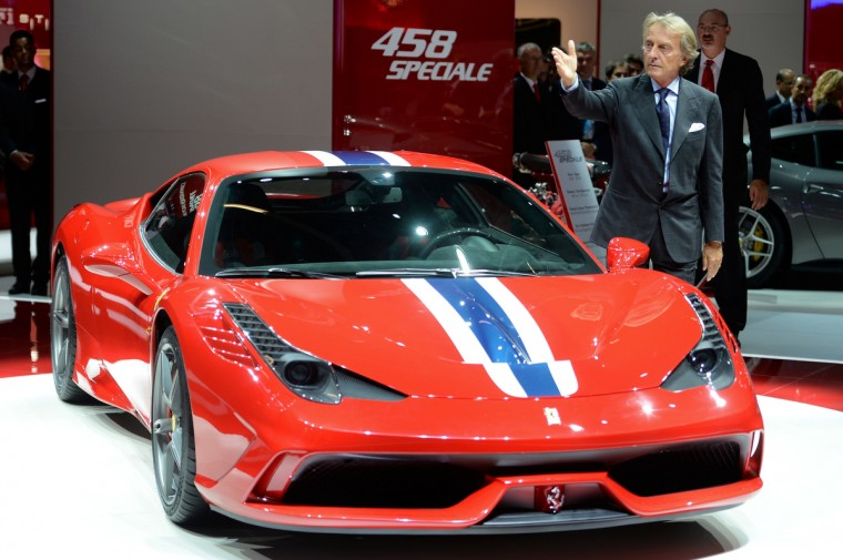 Ferrari president Luca Cordero di Montezemolo presents the new Ferrari 458 Speciale at the IAA International Automobile Exhibition on September 10, 2013 in Frankfurt, Germany. (Thomas Lohnes/Getty Images)
