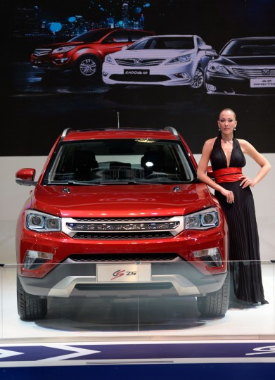 A model presents the car CS75 of chinese car company 'Changan' at the IAA international automobile show on September 11, 2013 in Frankfurt, Germany. (Thomas Lohnes/Getty Images)