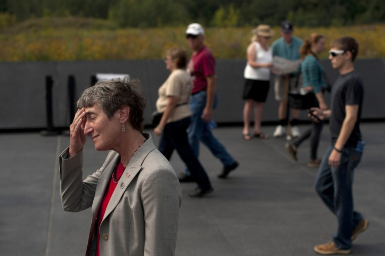 United States Secretary of the Interior Sally Jewell wipes her brow after greeting families at the Flight 93 National Memorial during ceremonies commemorating the 12th anniversary of the 9/11 attacks on September 11, 2013 in Shanksville, Pennsylvania. (Jeff Swensen/Getty Images)