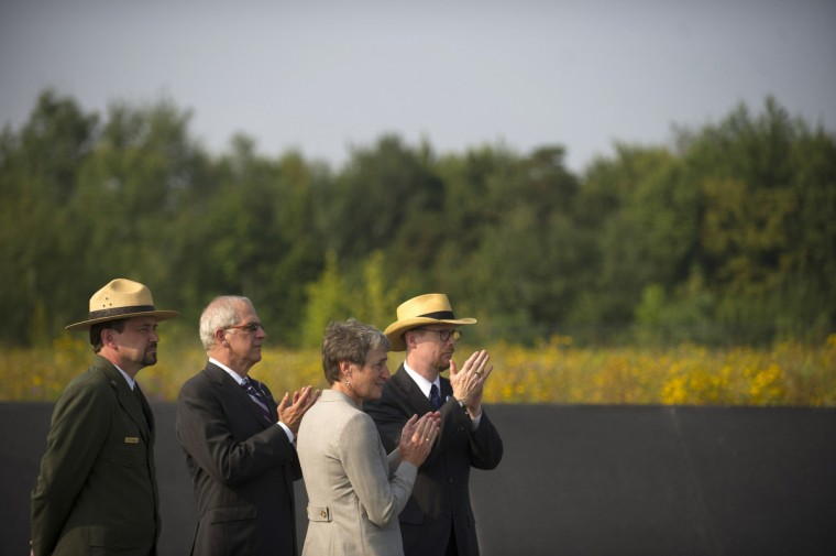 United States Secretary of the Interior Sally Jewell (2R) visits the Flight 93 National Memorial during ceremonies commemorating the 12th anniversary of the 9/11 attacks on September 11, 2013 in Shanksville, Pennsylvania. (Jeff Swensen/Getty Images)