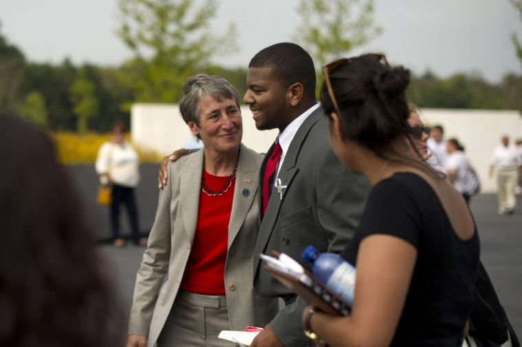United States Secretary of the Interior Sally Jewell (L) greets families at the Flight 93 National Memorial during ceremonies commemorating the 12th anniversary of the 9/11 attacks on September 11, 2013 in Shanksville, Pennsylvania. (Jeff Swensen/Getty Images)