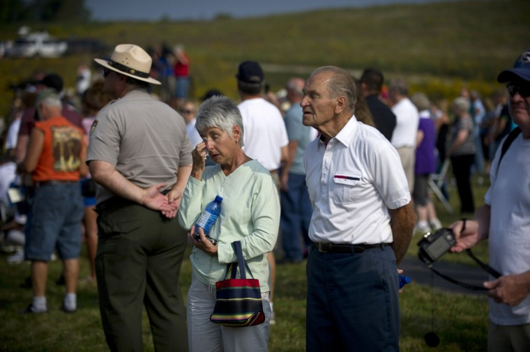Visitors attend ceremonies at Flight 93 National Memorial commemorating the 12th anniversary of the 9/11 attacks on September 11, 2013 in Shanksville, Pennsylvania. (Jeff Swensen/Getty Images)