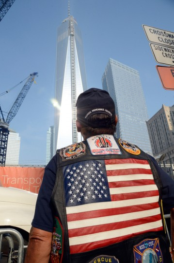 A New York City fireman looks on on the twelfth anniversary of the terrorist attacks on lower Manhattan at the World Trade Center site on September 11, 2013 in New York City. (Kevin Mazur/Getty Images)