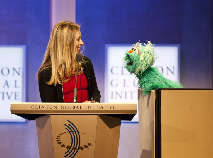 Chelsea Clinton speaks with Rosita the muppet from Sesame Street during the annual Clinton Global Initiative (CGI) meeting in New York City. Timed to coincide with the United Nations General Assembly, CGI brings together heads of state, CEOs, philanthropists and others to help find solutions to the world's major problems. (Ramin Talaie/Getty Images)