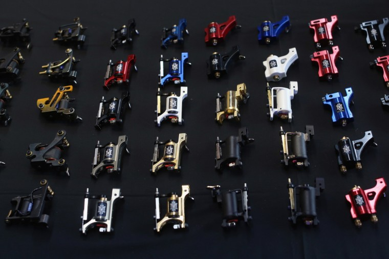 Tattoo machines are for sale at the London Tattoo Convention in Tobacco Dock on September 27, 2013 in London, England. (Oli Scarff/Getty Images)