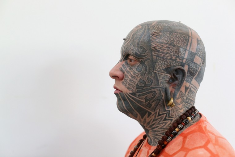 A detail view of Iestyn Flye's tattoo at the London Tattoo Convention in Tobacco Dock on September 27, 2013 in London, England. (Oli Scarff/Getty Images)182274397