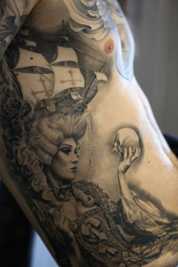Detail view of a tattoo on the torso of a body art enthusiast at the London Tattoo Convention in Tobacco Dock on September 27, 2013 in London, England. (Oli Scarff/Getty Images)