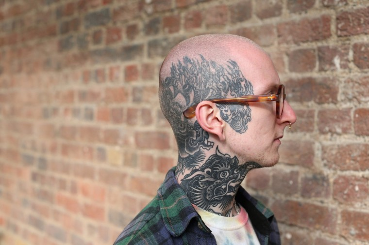 A detail view of Phil Yarnell's tattoo at the London Tattoo Convention in Tobacco Dock on September 27, 2013 in London, England. (Oli Scarff/Getty Images)