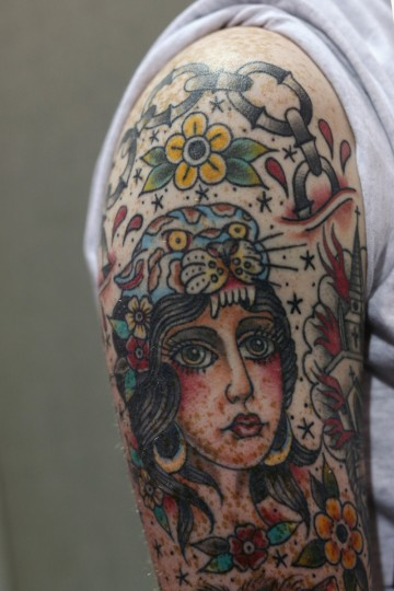 A detail view of Michael O'Sullivan's tattoo at the London Tattoo Convention in Tobacco Dock on September 27, 2013 in London, England. (Oli Scarff/Getty Images)