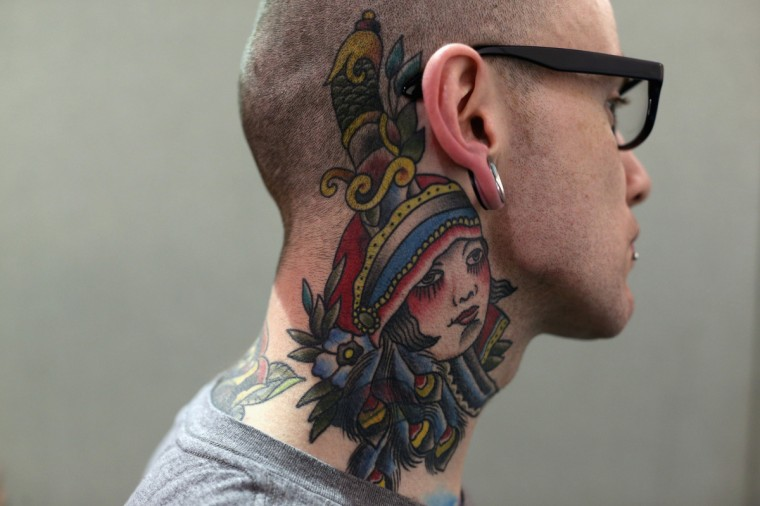 A detail view of Conor Boyle's tattoo at the London Tattoo Convention in Tobacco Dock on September 27, 2013 in London, England. (Oli Scarff/Getty Images)