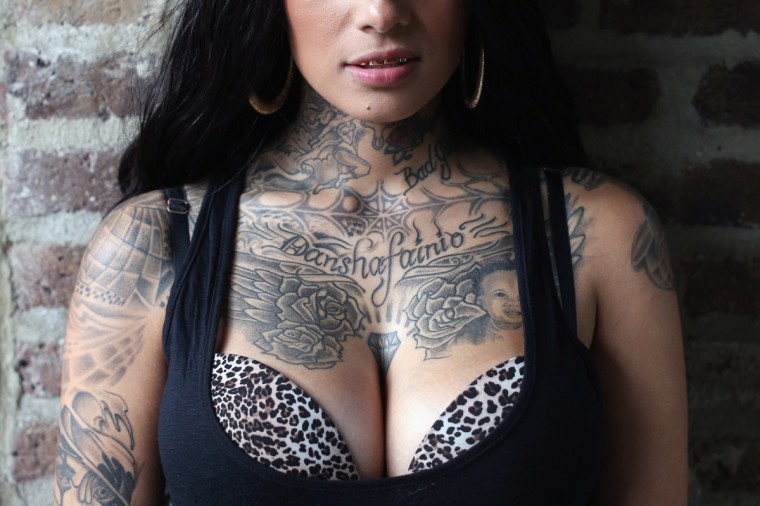 A detail view of Bugz Bonniie's tattoo at the London Tattoo Convention in Tobacco Dock on September 27, 2013 in London, England. (Oli Scarff/Getty Images)