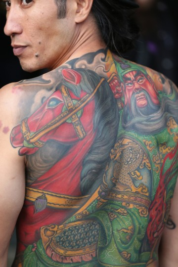 A detail view of an enthusiast's tattoo at the London Tattoo Convention in Tobacco Dock on September 27, 2013 in London, England. (Oli Scarff/Getty Images)