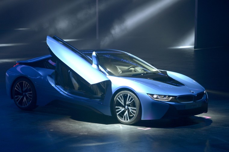 German carmaker BMW new hybrid sports car BMW i8 is displayed during a press conference on September 10, 2013 at the media day of the 65th edition of the IAA (Internationale Automobil Ausstellung) auto fair in Frankfurt am Main, western Germany. The show runs for the public from September 12 to 22. (Johannes Eisele/Getty images)