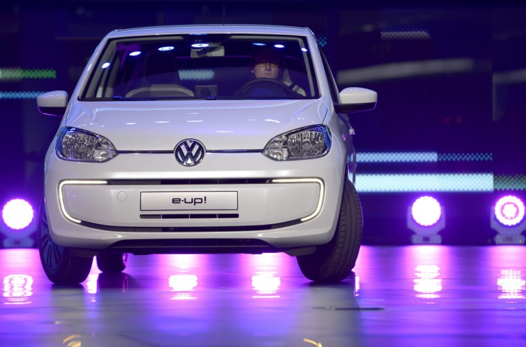 German carmaker Volkswagen (VW) electric car e-up! is displayed during a press conference. (Johannes Eisele/Getty images)