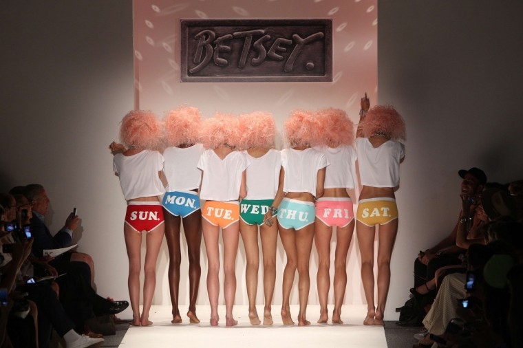 Models present fashion by designer Betsey Johnson during the Mercedes-Benz Fashion Week Spring 2014 collectionin New York. (Mehdi Taamallah/Getty Images)