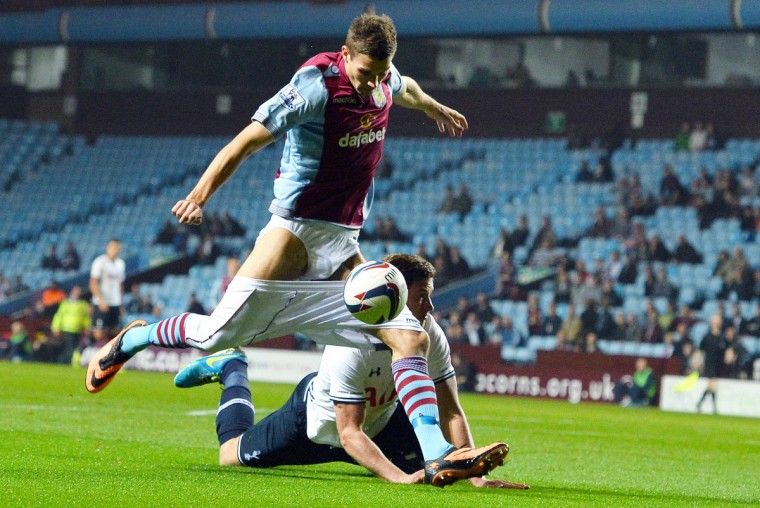 Aston Villa's Danish forward Nicklas Helenius loses his shorts during a challenge from Tottenham Hotspur's Belgian defender Jan Vertonghen at the League Cup football match between Aston Villa and Tottenham Hotspur at Villa Park in Birmingham, West Midlands. (Paul Ellis/Getty Images)