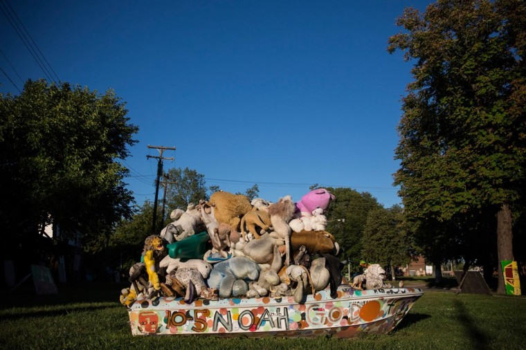 "A sculpture created from recycled material sits amongst the ""Heidelberg project,"" which is an ""open air art environment"" centered around one block in Detroit, on September 3, 2013 in Detroit, Michigan. (Andrew Burton/Getty Images)"