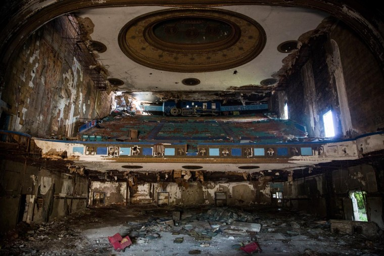 Remnants of Detroit's historic Eastown Theatre are seen on September 4, 2013 in Detroit, Michigan. (Andrew Burton/Getty Images)