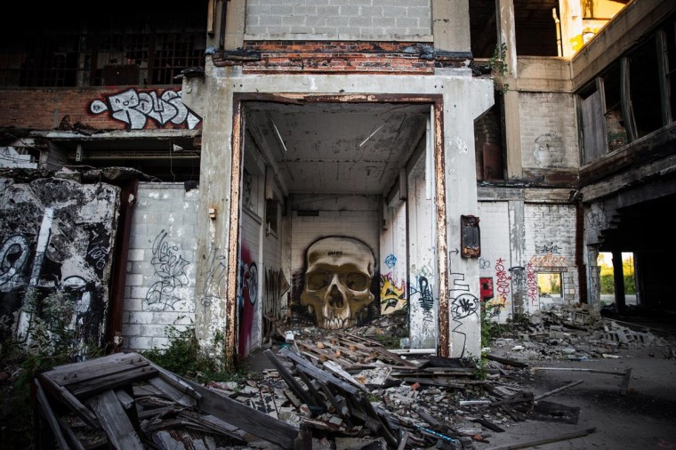 Ruins at the abandoned Packard Automotive Plant are seen on September 4, 2013 in Detroit, Michigan. (Andrew Burton/Getty Images)