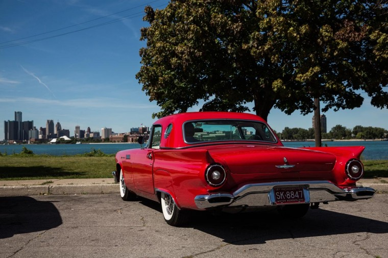 A 1957 Ford Thunderbird sits on Belle Isle, a city-owned, island-park in the middle of the Detroit River, on September 5, 2013 in Detroit, Michigan. Belle Isle includes a golf course, yacht club, fishing piers and a beach, though the city is considering selling it due to bankruptcy. (Andrew Burton/Getty Images)