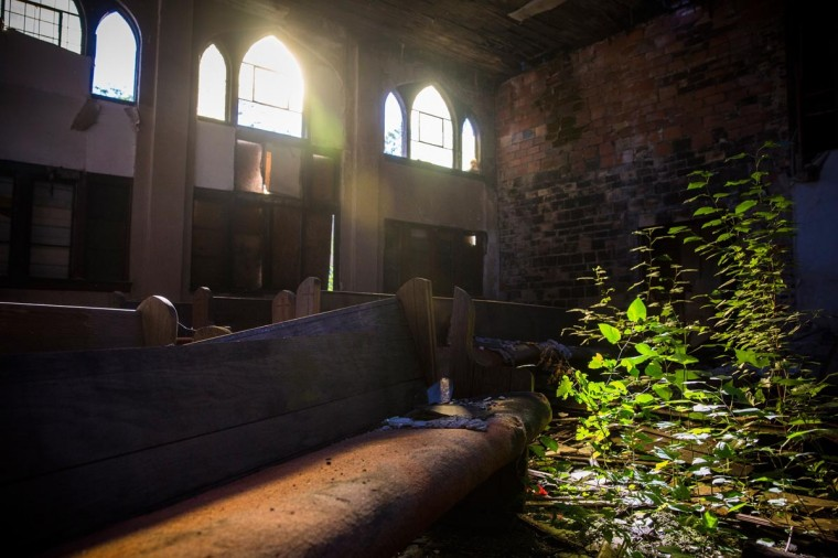 The interior of an abandoned church is seen on September 5, 2013 in Detroit, Michigan. (Andrew Burton/Getty Images)