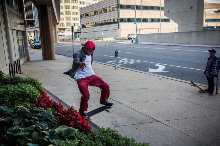 Fan Smith, a skateboarder, grinds on a ledge on September 6, 2013 in Detroit, Michigan. (Andrew Burton/Getty Images)